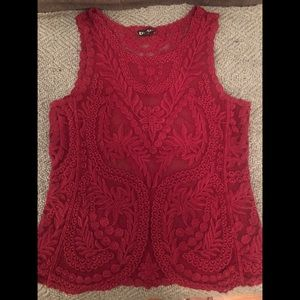 EXPRESS Lace Top Burgundy